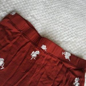 Dresses & Skirts - Red maxi skirt: white flowers